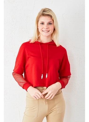 EKA Kolu Fileli Sweatshirt Kırmızı